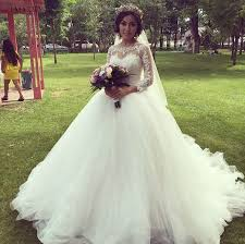 Wedding Dress On Sale Elegant Beautiful Puffy Long Sleeve Wedding Dresses 2017 Sheer Top
