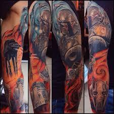 star wars colour tattoo sleeve tattoos by alex oberov