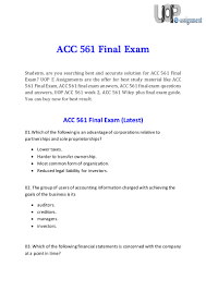 acc 561 final exam questions and answers uop e assignments