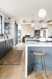 Grey And White Kitchen Rugs Decor Grey Kitchen Cabinets And Waterfall Countertop With Bar
