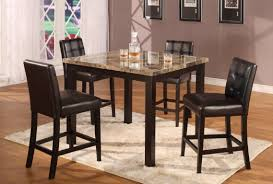 formal dining room design with pub style high top dining tables