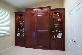 Stained Wood Wall Bed  Side Cabinets Traditional Bedroom - Custom cabinets bedroom