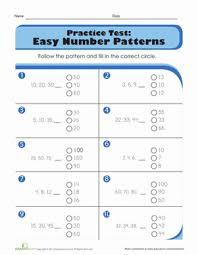 practice test easy number patterns worksheet education com