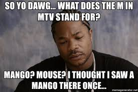 so yo dawg what does the m in mtv stand for mango mouse i