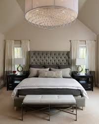 grey tufted headboard with stunning drum pendant lamp for classic