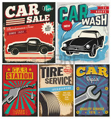 vintage retro style set of vector cars flyer template garage