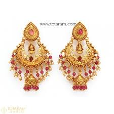 gold earrings jhumka design temple jewellery earrings jhumkas in 22k gold made in india