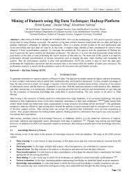mining of datasets using big data technique hadoop platform by