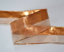 copper ribbon copper metallic mesh stripe ribbon 25 yards