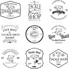tackle and bait shop label desing elemets emblem vector stock