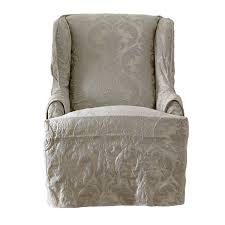 damask chair sure fit matelasse damask t cushion wingback slipcover reviews