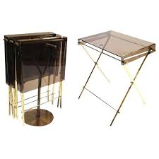 Folding Tray Table Set Folding Serving Tables Set 4 Brass And Smoked Folding Tray Serving