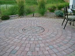 Round Brick Fire Pit Design - brick patio designs with fire pit christmas lights decoration