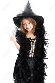 beautiful cute little in witch halloween costume show thumb
