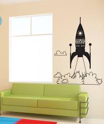 space vinyl wall decal sticker rocket ship take off os dc653