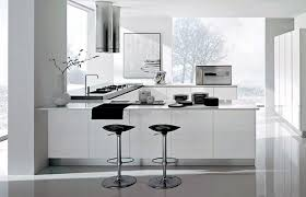 modern and minimalist kitchen with island bar and contemporary