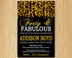 forty and fabulous birthday invitation gold birthday party invite
