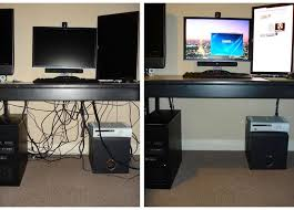 How To Decorate A Home Office On A Budget Computer Cable Management On The Cheap Power Strip Cord And Desks
