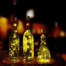 cheap 15 led bottle string lights 30in copper wire cork shape