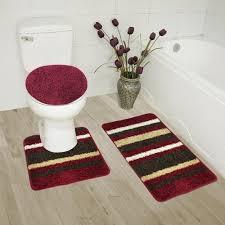 Burgundy Bathroom Rugs Bathroom Rug Set 3 Pc Bath Rug Contour Rug Lid Cover High Pile