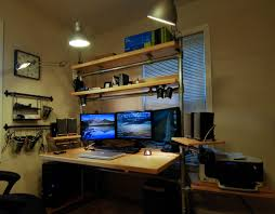 collection in computer desk setup with offices gaming computer and