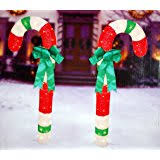 Candy Cane Outdoor Decorations Amazon Com 2 Pack Lighted Tinsel Candy Cane Outdoor Decoration