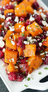 honey roasted butternut squash with cranberries feta