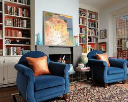 Living Room With Blue Sofa Blue And Orange Room Houzz