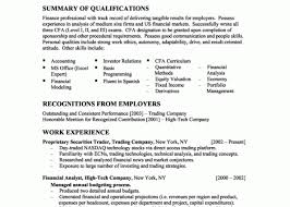 exle resume summary of qualifications financial analyst resume summary of qualifications gallery