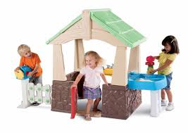 indoor outdoor plastic playset house with mailbox and sand and