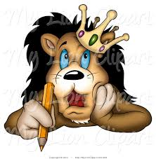 bored clipart of a bored lion king in a crown holding a pencil and
