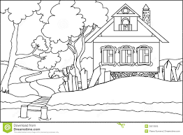 house colouring color book the old house at the river royalty free stock photo