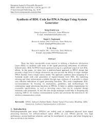 synthesis of hdl code for fpga design using system generator pdf