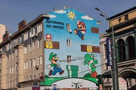 nintendo reach for the stars mural in moscow video game tidbits nintendo russia mural reach for the stars