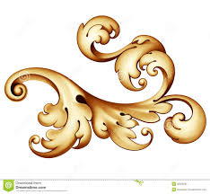 vintage baroque golden scroll ornament royalty free stock photo