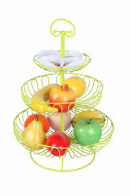 fruit basket stand fruit rack 3 tier steel layered free standing kitchen counter