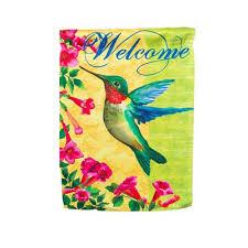 Hummingbird Garden Decor Grange Co Op Patterned Welcome Hummingbird Garden Flag Flags