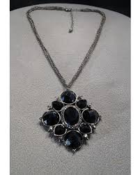 black glass necklace images New shopping special vintage art deco style silver tone jet black