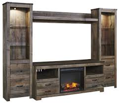 signature design by ashley trinell rustic large tv stand w