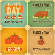thanksgiving day vintage posters set with turkey vector