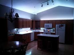 u shape kitchen decoration using blue led light under kitchen