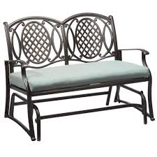 Hampton Bay Patio Furniture Touch Up Paint by Hampton Bay Belcourt Metal Outdoor Glider With Spa Cushion D11334
