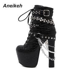 womens biker boots nz zip metal chains rivet motorcycle boots shoes high