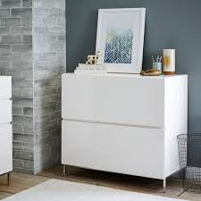 White Lateral File Cabinet Lacquer Storage Modular Lateral File West Elm