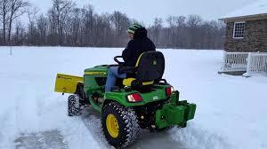 john deere x758 plowing snow youtube