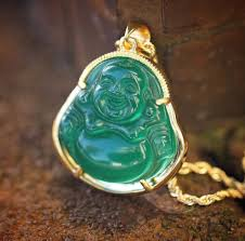 chain necklace ebay images Mens 18k gold green jade buddha pendant and rope chain necklace jpg