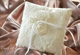 wedding pillow rings crafted ivory ring bearer pillow wedding pillow ivory