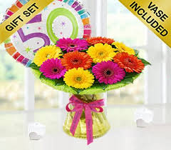 50th birthday flowers and balloons birthday germini gift with a happy 50th birthday day