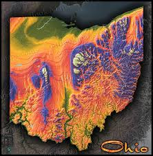 Map Of Marion Ohio by Colorful Ohio Wall Map 3d Topographical Physical Features