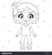 contour kawaii doll coloring page on stock vector 351329060